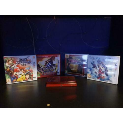 3DS Metallic Red + 4 Games